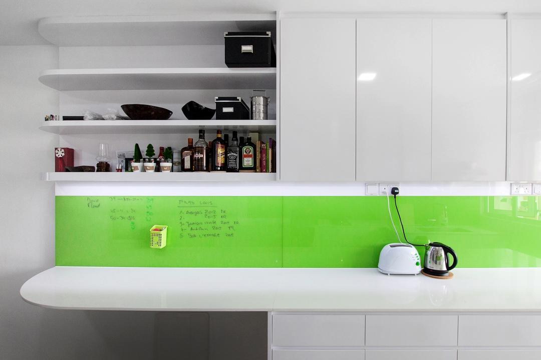 Serangoon North, Space Atelier, Modern, Kitchen, HDB, Green Backsplash, White, White Cabine, Shelf, Shelves, Liquor, Liquor Shelf
