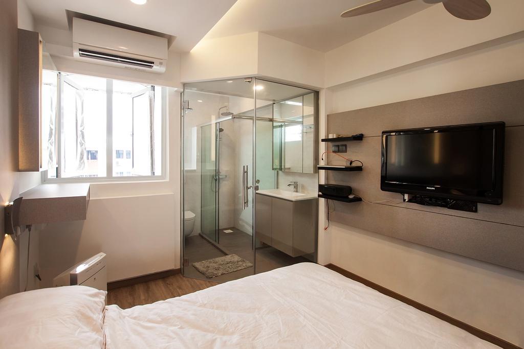 Modern, HDB, Bedroom, Serangoon North, Interior Designer, Space Atelier, Wall Mounted Tv, Wall Shelf, Feature Wall, Aircon, Glass Door, Bathroom Door