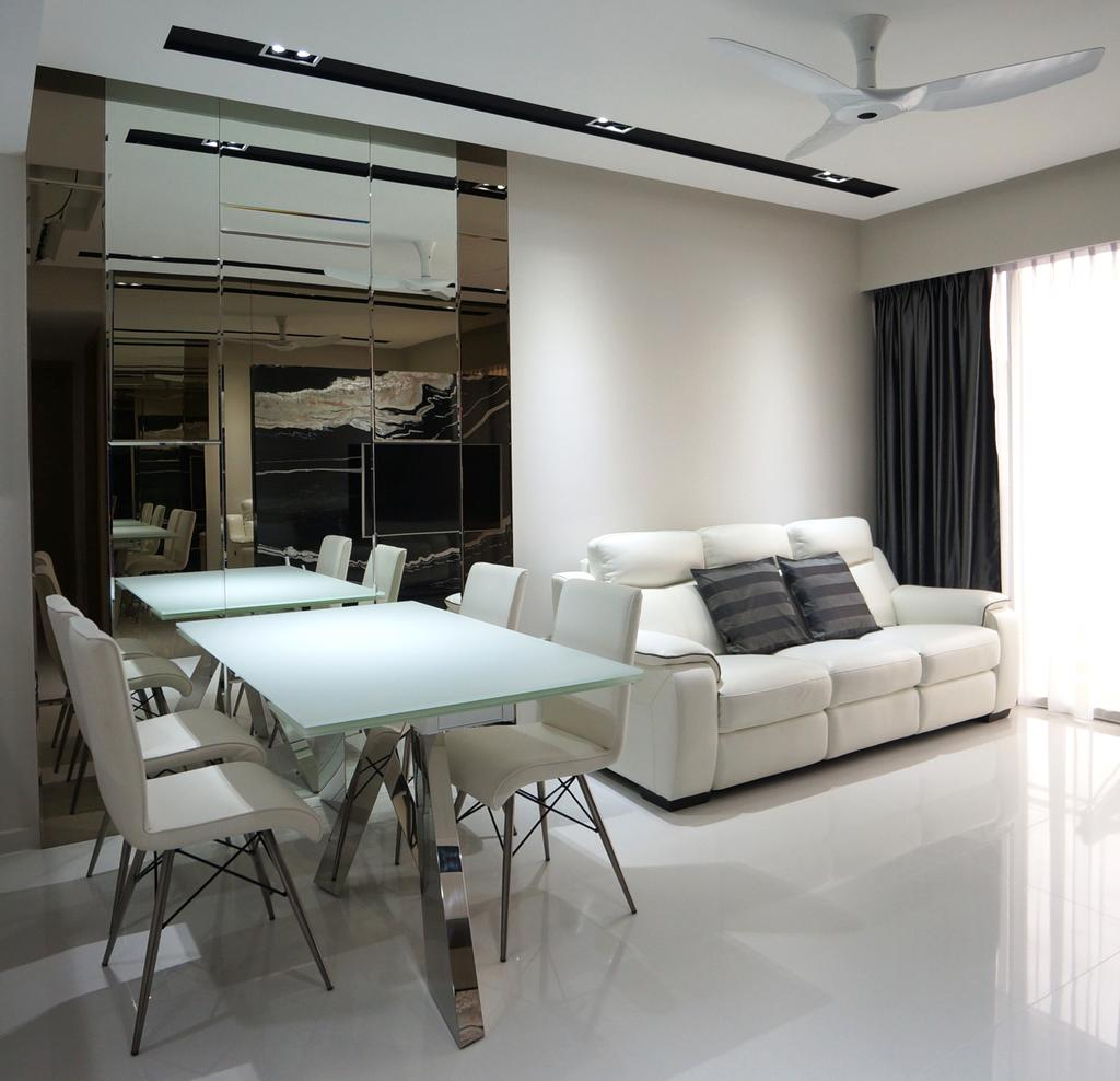 Modern, Condo, Dining Room, Bartley Residences, Interior Designer, Space Atelier, White Sofa, Three Seater, White Leather Sofa, Chair, Furniture, Indoors, Room, Door, Sliding Door