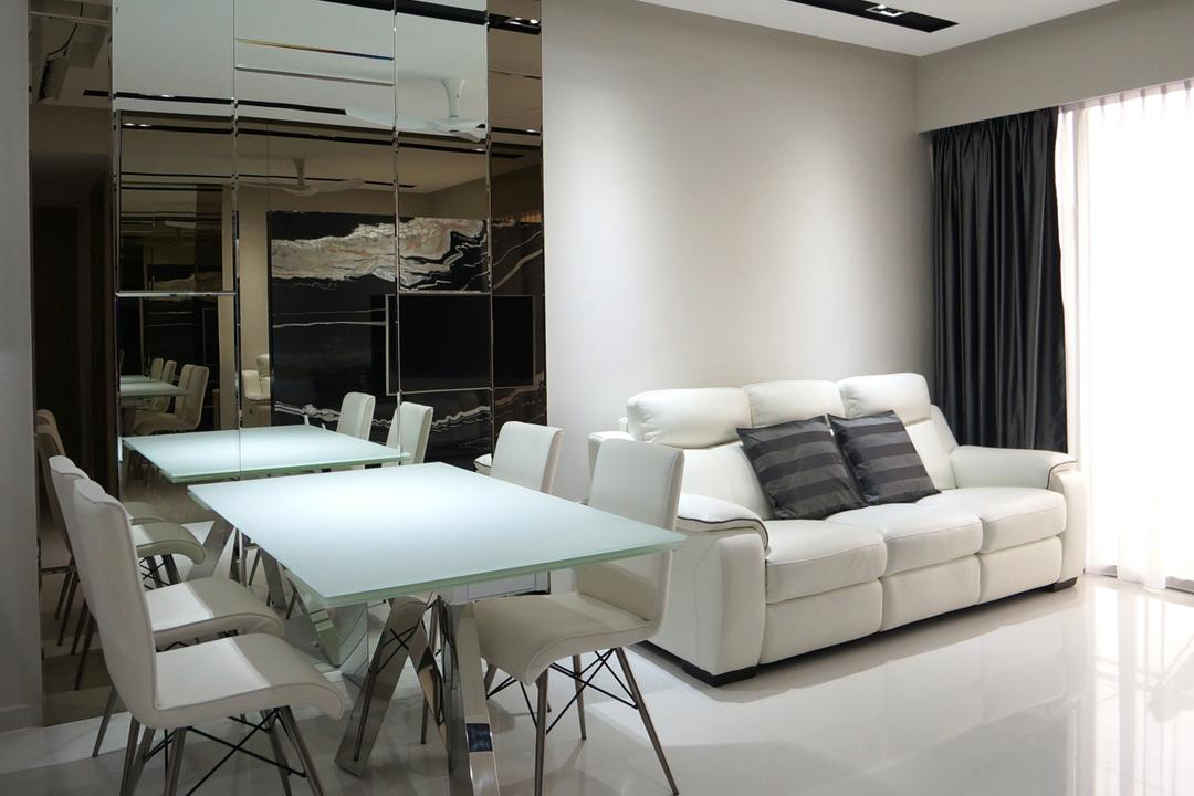 Bartley Residences, Space Atelier, Modern, Dining Room, Condo, White Sofa, Three Seater, White Leather Sofa, Chair, Furniture, Indoors, Room, Door, Sliding Door