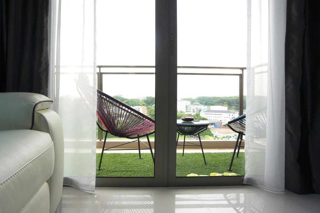 Bartley Residences, Space Atelier, Modern, Balcony, Condo, Acapulco Chair, Balcony Chair, Balcony Furniture, Artificial Grass Carpet, Fake Grass Carpet, Grass Patch, Chair, Furniture, Door, Sliding Door