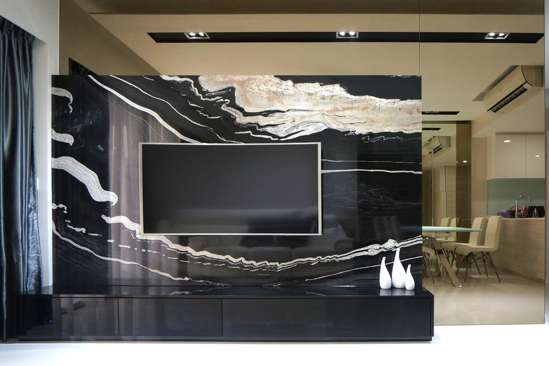 Bartley Residences, Space Atelier, Modern, Living Room, Condo, Feature Wall, Black Feature Wall, Textured Feature Wall, Wall Mounted Tv, Mirror, Mirror Panels, Electronics, Entertainment Center