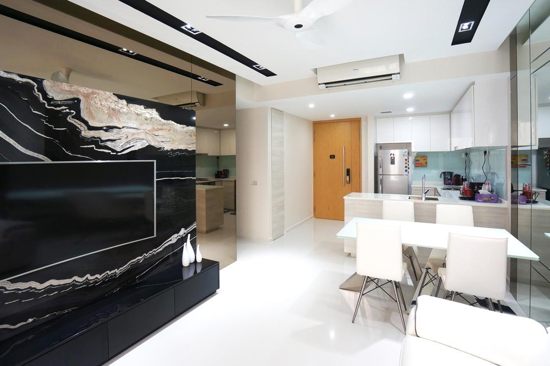 Bartley Residences, Space Atelier, Modern, Living Room, Condo, Feature Wall, Black Feature Wall, Wall Mounted Tv, Marble, Ceiling Fan, White Ceiling Fan, White Furniture, White Chairs, HDB, Building, Housing, Indoors, Loft, Interior Design