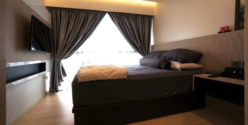 Modern, Condo, Bedroom, Bartley Residences, Interior Designer, Space Atelier, Bed, Furniture, Curtain, Home Decor