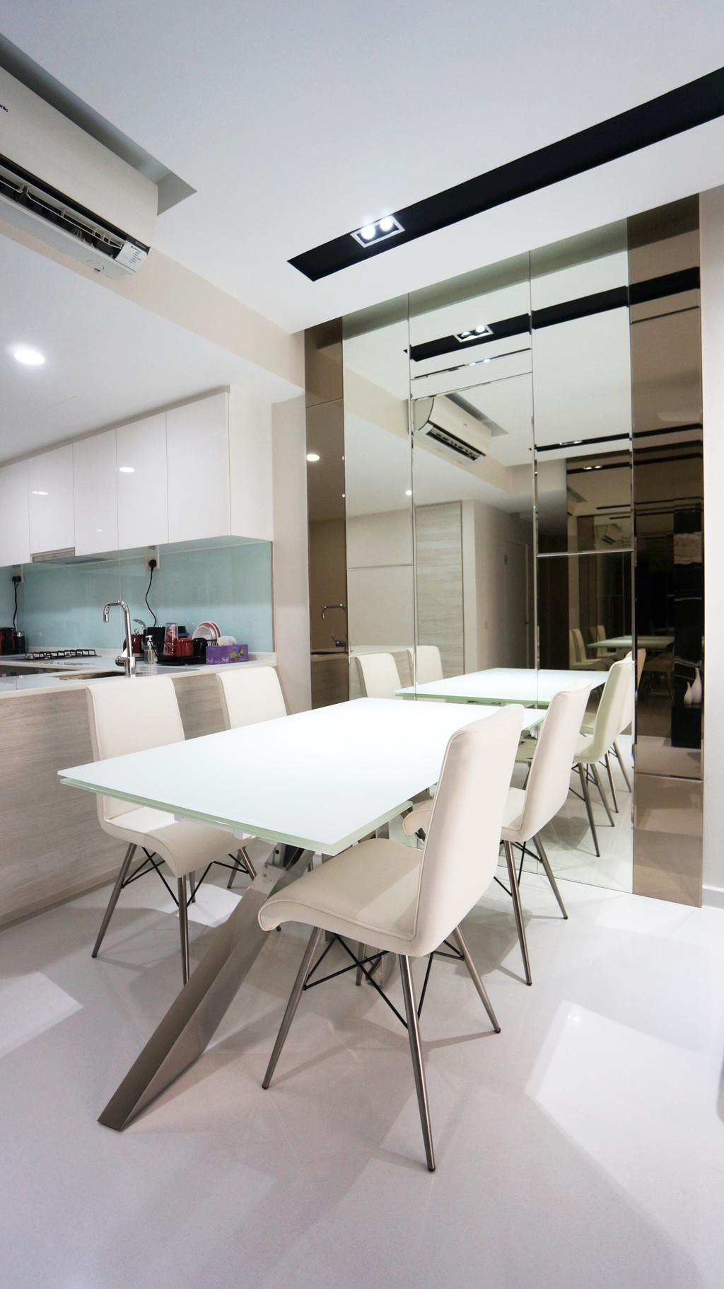 Modern, Condo, Dining Room, Bartley Residences, Interior Designer, Space Atelier, White Table, White Chairs, Dining Table, , Mirror, Dining Room Mirror, Mirror Panels, Chair, Furniture, Bathroom, Indoors, Interior Design, Room, Conference Room, Meeting Room, Sink