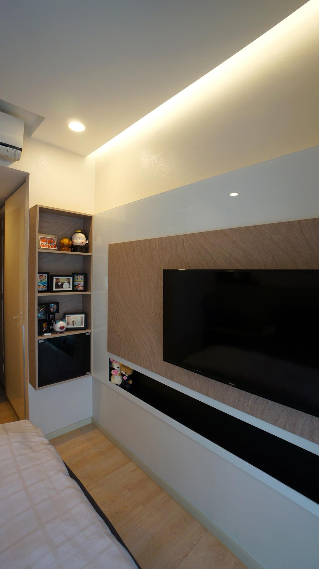 Modern, Condo, Bedroom, Bartley Residences, Interior Designer, Space Atelier, Wall Mounted Tv, Feature Wall, Simple Feature Wall, Cove Lighting, Shelf, Electronics, Monitor, Screen, Tv, Television, Bookcase, Furniture, Fireplace, Hearth