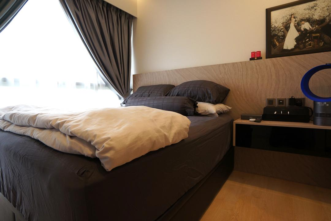 Bartley Residences, Space Atelier, Modern, Bedroom, Condo, Bedside Table, Black Bedsheet, Dark Colours, Bed, Furniture, HDB, Building, Housing, Indoors