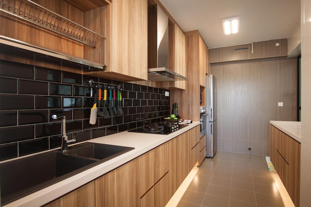 Scandinavian, HDB, Kitchen, Edgefield Plains (Block 669A), Interior Designer, Space Atelier, Subway Tiles, Black Subway Tiles, Brown Kitchen Cabinet, Kitchen Tiles, Floor Tiles, Exhaust Hood, Plate Rack, Kitchen Rack