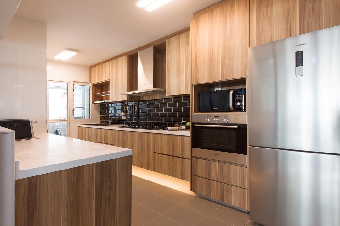 Edgefield Plains (Block 669A), Space Atelier, Scandinavian, Kitchen, HDB, Brown Cabinet, Wood Grain, Refrigerator, Oven, Microwave, Backsplash, Subway Tiles, Black Subway Tiles, Exhaust Hood, Brown Kitchen Cabinet