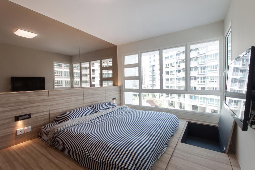 Edgefield Plains (Block 669A), Space Atelier, Scandinavian, Bedroom, HDB, Platform, Platform Bed, Mirror, Big Mirror, Woody, Bright, Natural Lighting, Platform With Storage, Storage Ideas, Hidden Storage