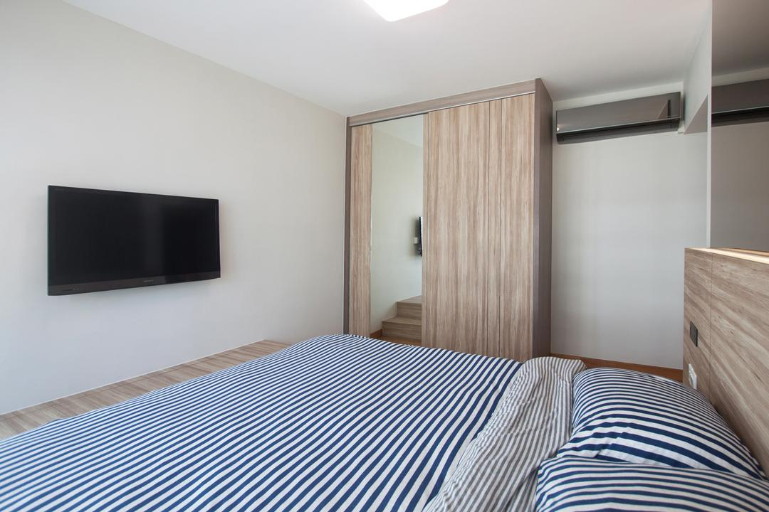 Edgefield Plains (Block 669A), Space Atelier, Scandinavian, Bedroom, HDB, Wall Mounted Tv, Wardrobe, Mirror, Full Length Mirror