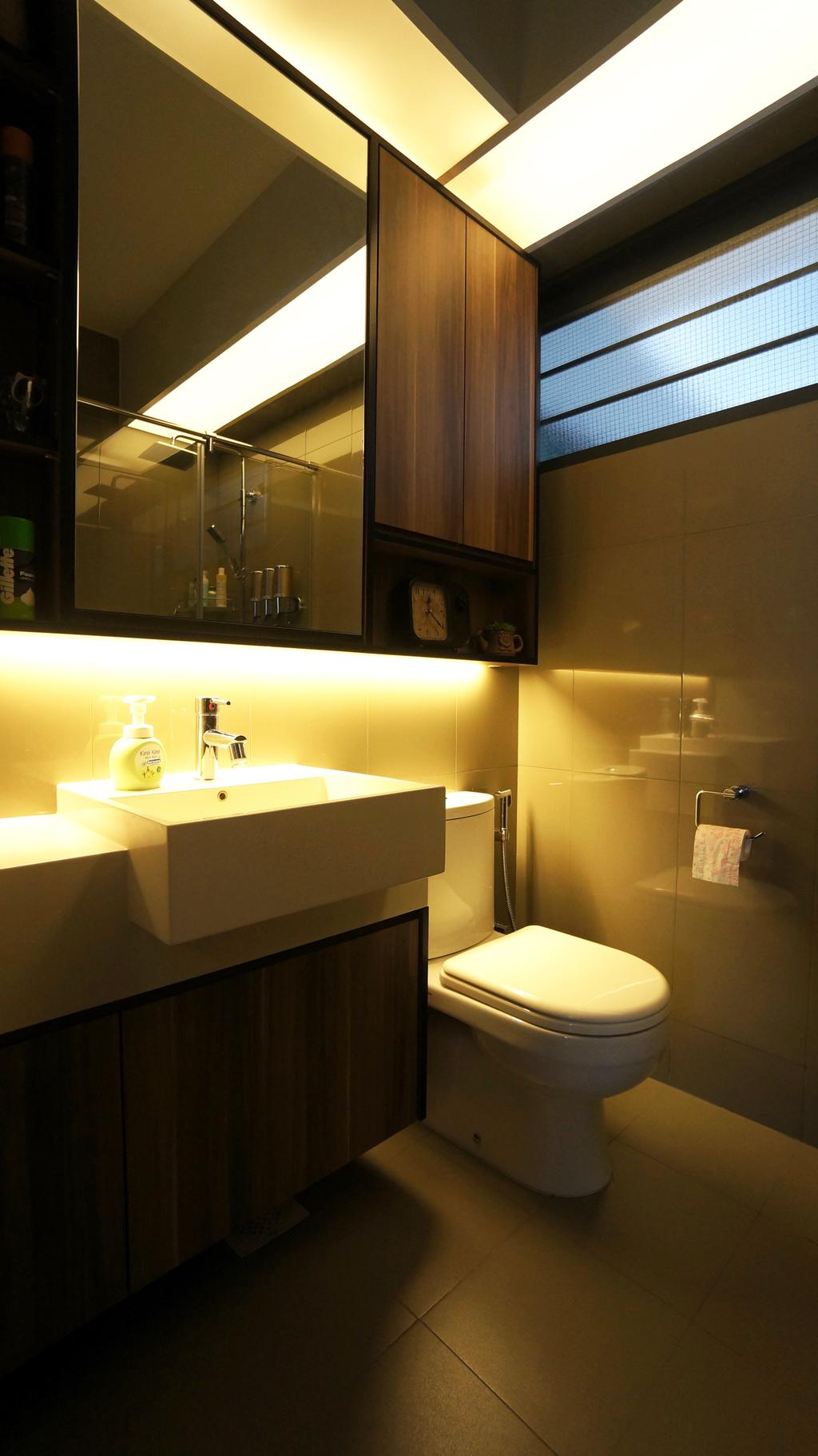 Modern, HDB, Bathroom, Punggol Walk (Block 310C), Interior Designer, Space Atelier, Warm Lighting, Bathroom Vanity, Bathroom Cabinet, Under Cabinet Lighting