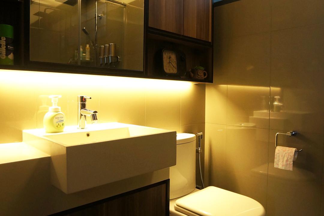 Punggol Walk (Block 310C), Space Atelier, Modern, Bathroom, HDB, Warm Lighting, Bathroom Vanity, Bathroom Cabinet, Under Cabinet Lighting