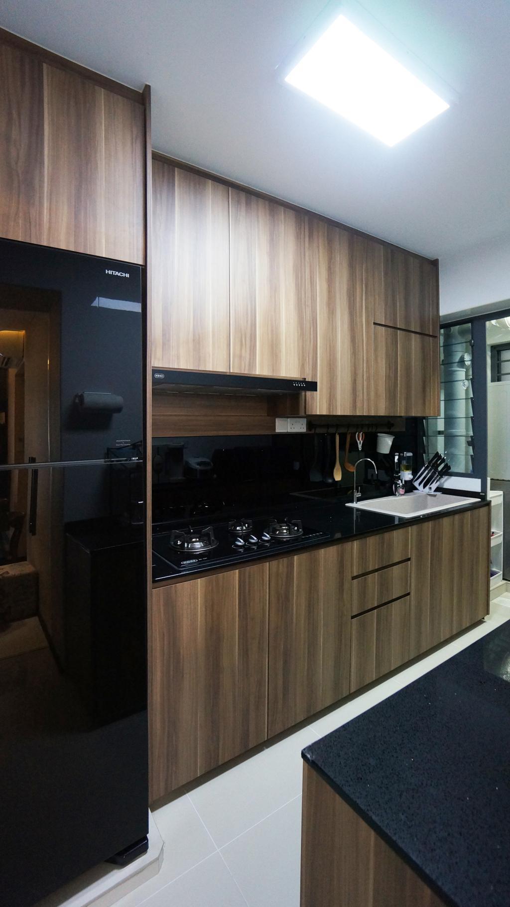 Modern, HDB, Kitchen, Punggol Walk (Block 310C), Interior Designer, Space Atelier, Kitchen Cabinet, Dark Colour Laminates, Dark Brown Laminates, Refrigerator, Black Refrigerator, Wood Grain