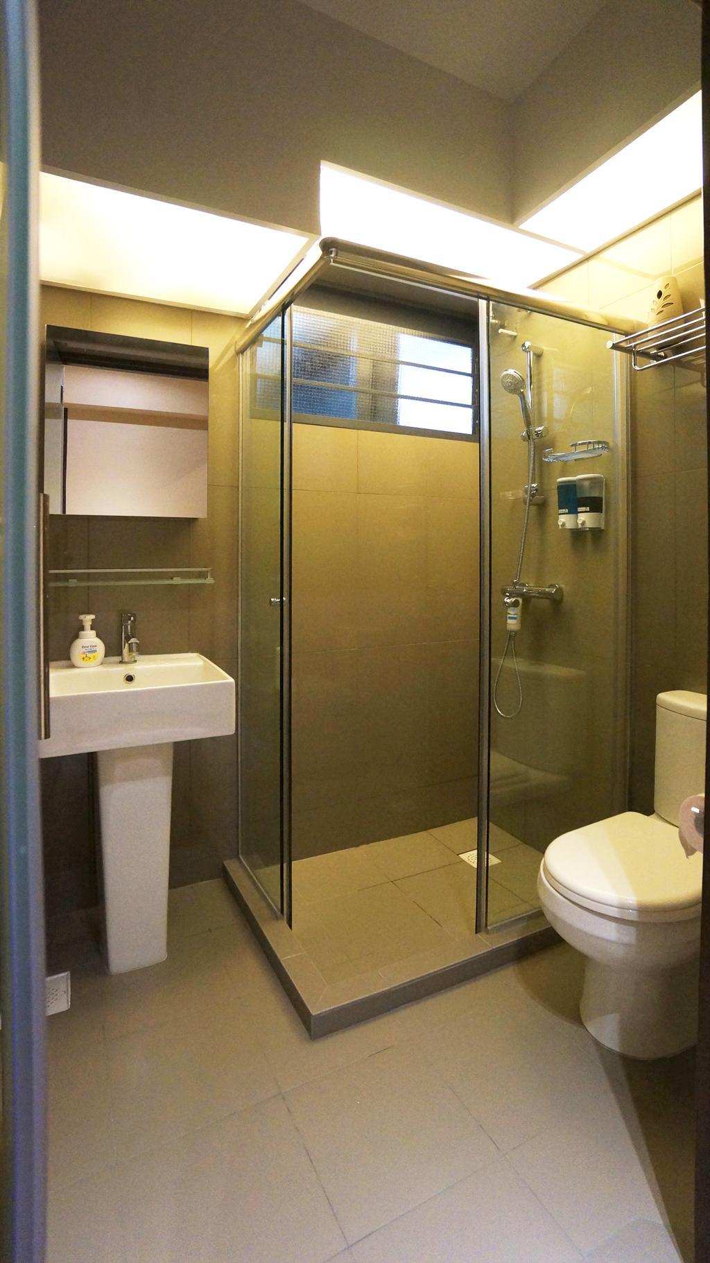 Modern, HDB, Bathroom, Punggol Walk (Block 310C), Interior Designer, Space Atelier, Pedestal Sink, Bathroom Sink, Bathroom Basin