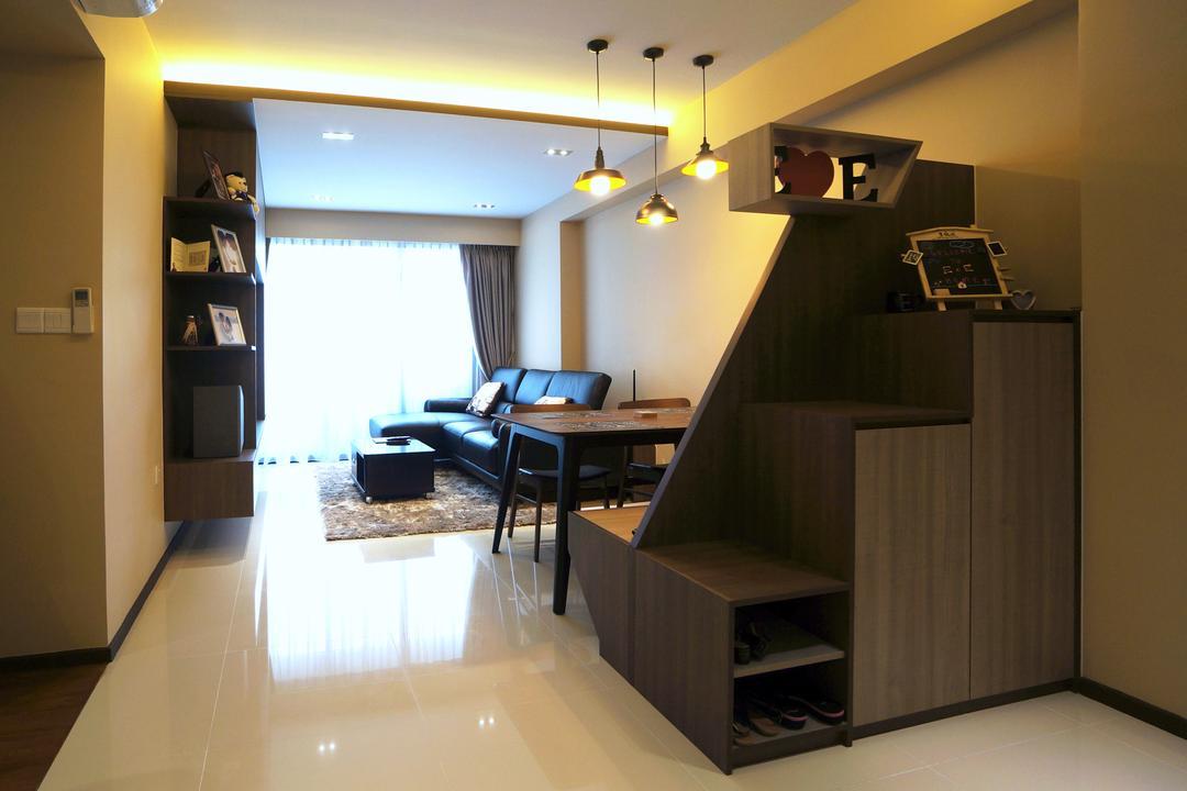 Punggol Walk (Block 310C), Space Atelier, Modern, Living Room, HDB, Shoe Cabinet, Dark Wood, Dark Colours, Dark Room, Dark Furniture, Pendant Lamp, Hanging Lamp, Cove Lighting