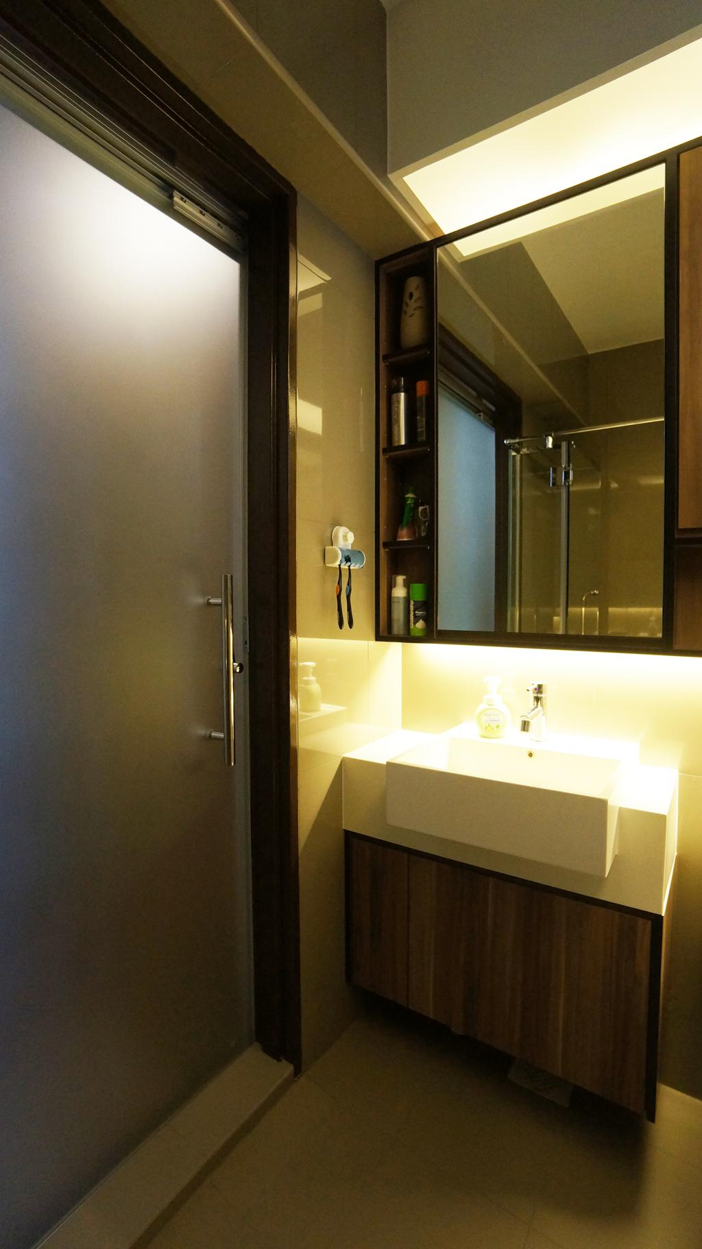 Modern, HDB, Bathroom, Punggol Walk (Block 310C), Interior Designer, Space Atelier, Bathroom Vanity, Mirror, Bathroom Cabinet, Door, Bathroom Door