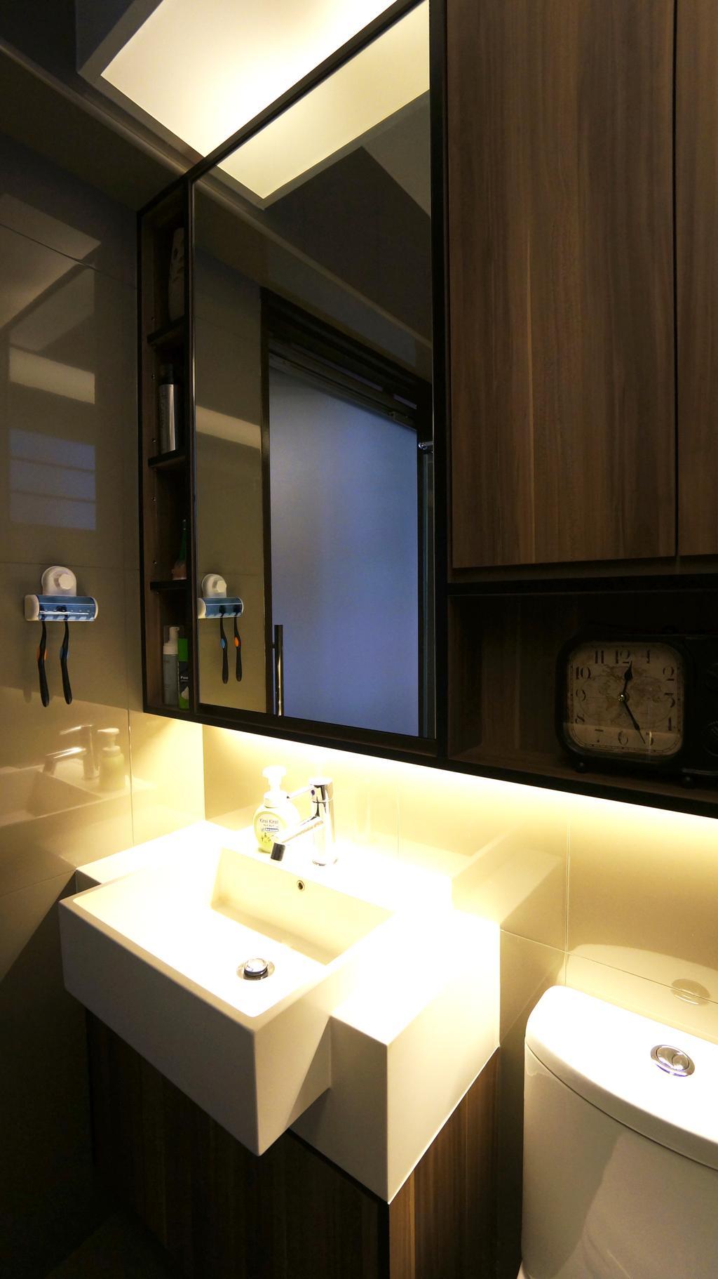 Modern, HDB, Bathroom, Punggol Walk (Block 310C), Interior Designer, Space Atelier, Vessel Sink, Basin