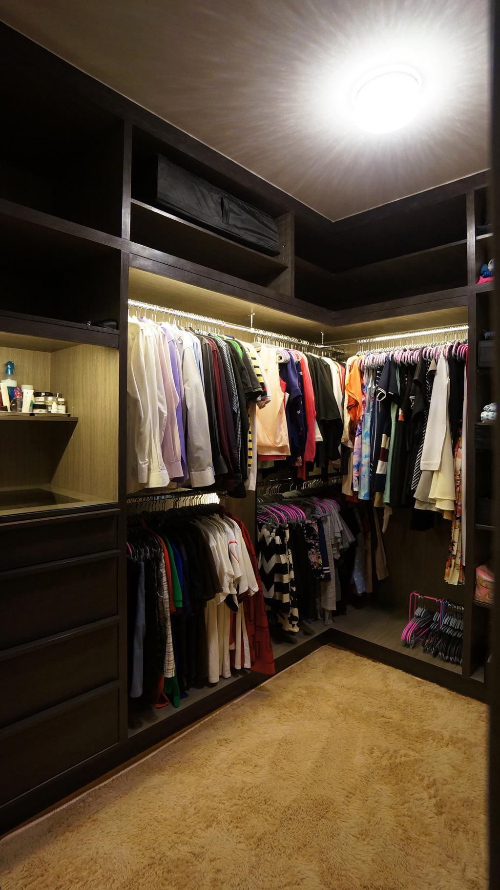 Modern, HDB, Bedroom, Punggol Walk (Block 310C), Interior Designer, Space Atelier, Wardrobe, Walk In Wardrobe, Wardrobe For Men, Shirts