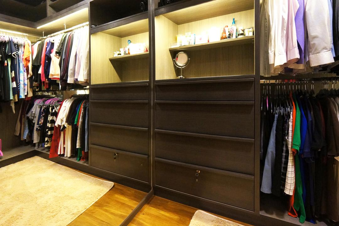 Punggol Walk (Block 310C), Space Atelier, Modern, Bedroom, HDB, Walk In Wardrobe, Clothes, Shelf, Storage, Wardrobe