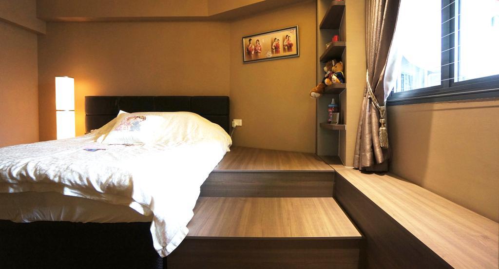 Modern, HDB, Bedroom, Punggol Walk (Block 310C), Interior Designer, Space Atelier, Platform, Raised Platform, Platform Bed, Curtain
