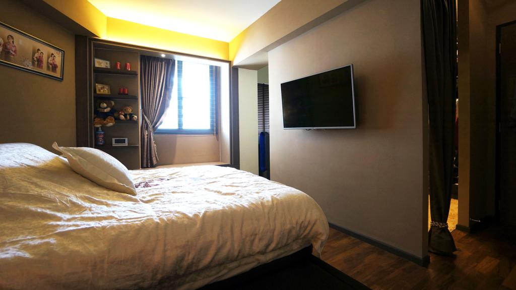 Modern, HDB, Bedroom, Punggol Walk (Block 310C), Interior Designer, Space Atelier, Wall Mounted Tv, Dark Room, Warm Lighting