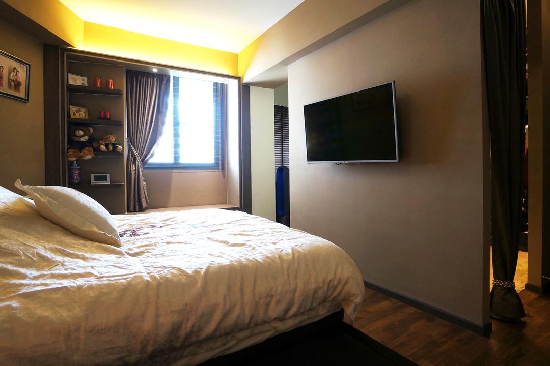 Punggol Walk (Block 310C), Space Atelier, Modern, Bedroom, HDB, Wall Mounted Tv, Dark Room, Warm Lighting