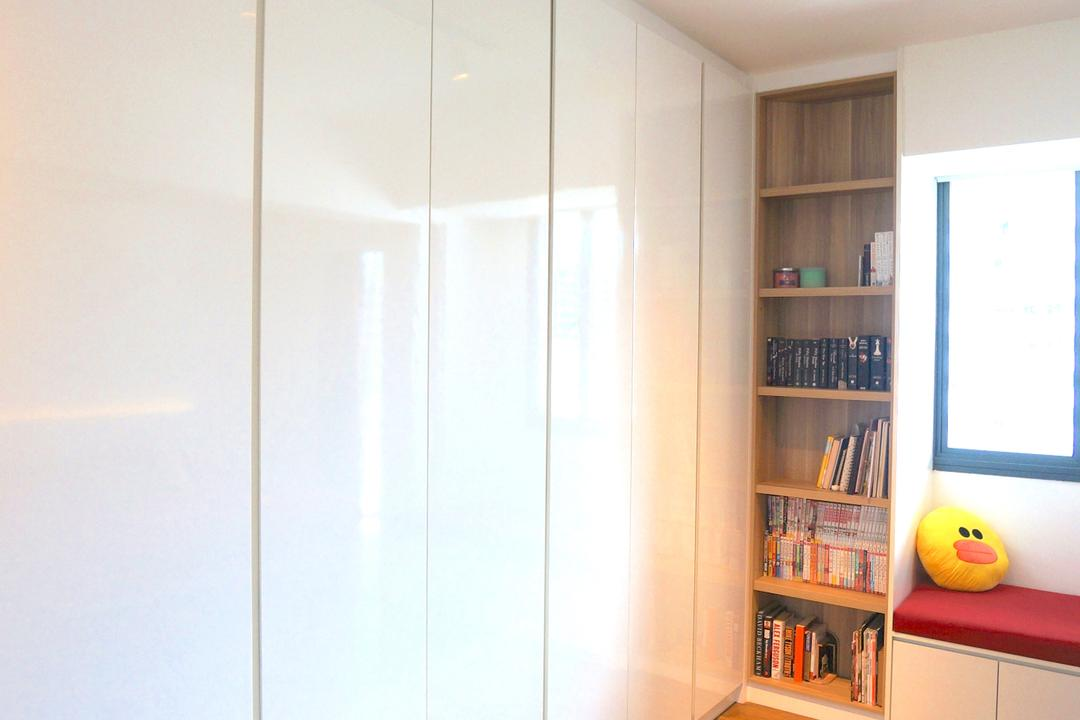 Punggol Walk (Block 310), Space Atelier, Scandinavian, Bedroom, HDB, Wardrobe, White Wardrobe, Floor To Ceiling Cabinet