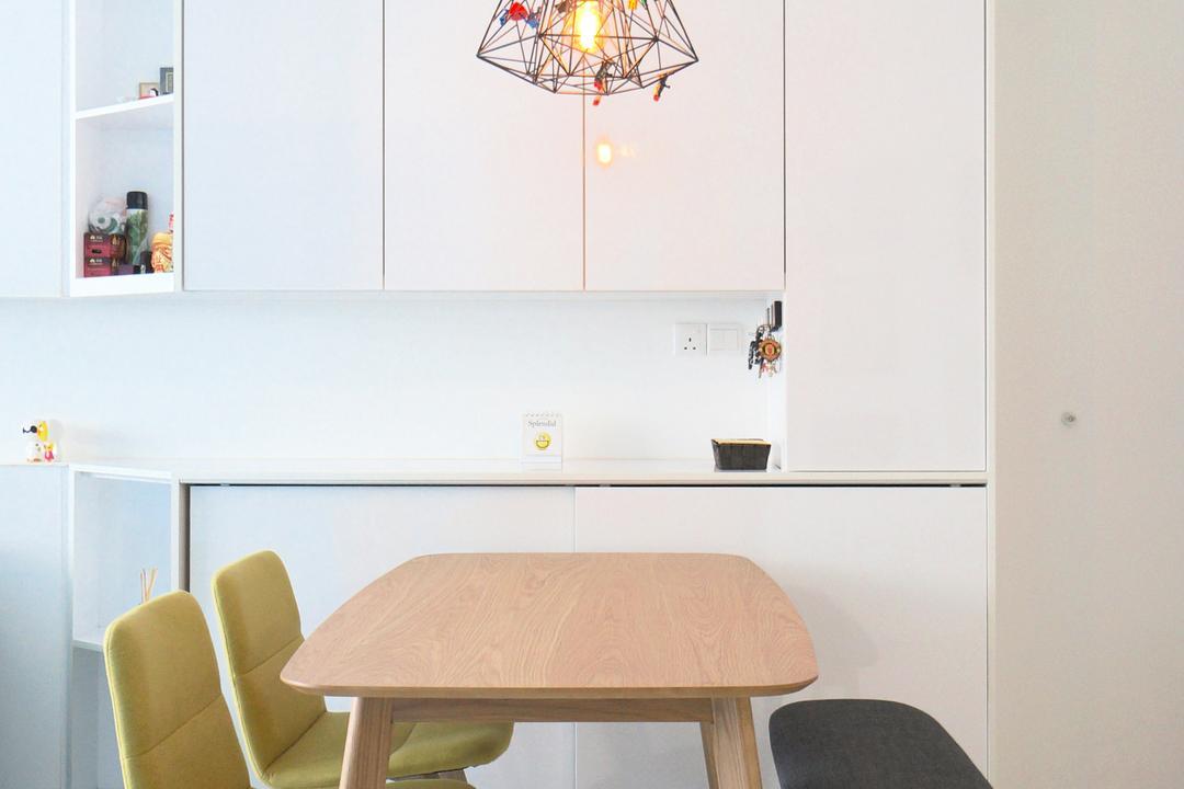 Punggol Walk (Block 310), Space Atelier, Scandinavian, Dining Room, HDB, Dining Table, Pencil Leg, Bench, , Yellow Chairs, White Cabinet