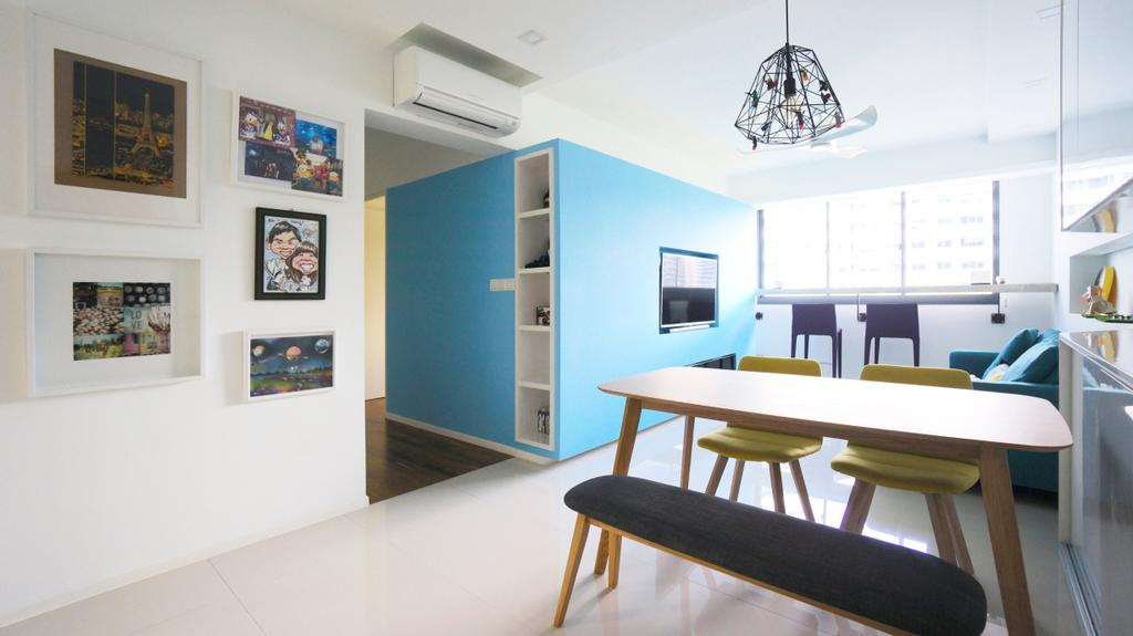 Scandinavian, HDB, Dining Room, Punggol Walk (Block 310), Interior Designer, Space Atelier, Dining Table, Dining Chairs, Bench, Cushioned Bench, Pendant Lamp, Hanging Lamp, Caged Lamp, Blue Wall, Bright, Natural Light, Photo Frame, Wall Frame