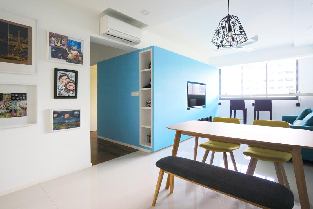 Punggol Walk (Block 310), Space Atelier, Scandinavian, Dining Room, HDB, Dining Table, Dining Chairs, Bench, Cushioned Bench, Pendant Lamp, Hanging Lamp, Caged Lamp, Blue Wall, Bright, Natural Light, Photo Frame, Wall Frame