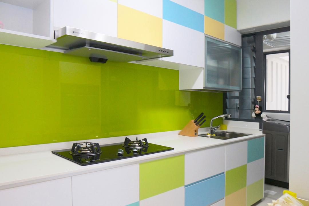 Punggol Walk (Block 310), Space Atelier, Scandinavian, Kitchen, HDB, Colours, Colourful, Checkers, Checkered Laminate, Kitchen Cabinetry, Stove, Exhaust Hood