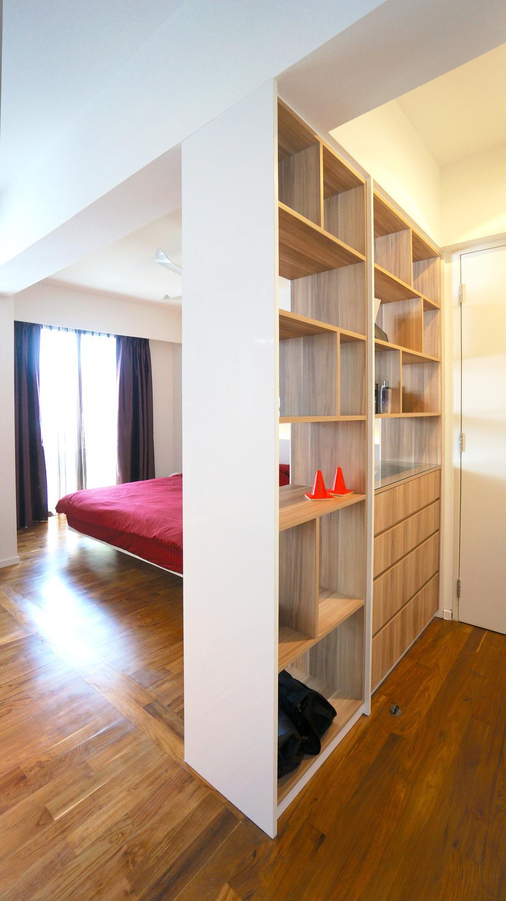 Scandinavian, HDB, Bedroom, Punggol Walk (Block 310), Interior Designer, Space Atelier, Cabinet As Partition, Storage Ideas, Storage Space