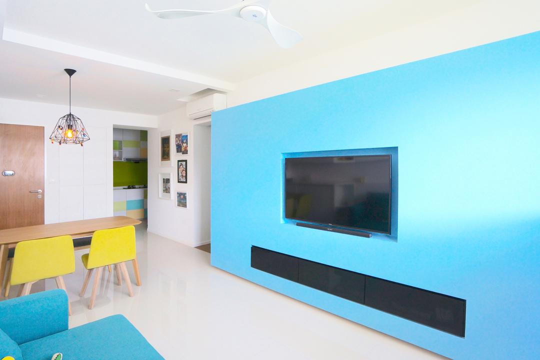 Punggol Walk (Block 310), Space Atelier, Scandinavian, Living Room, HDB, Blue Wall, Blue, Colourful, Bright Colour, Yellow Chair, Dining Chairs