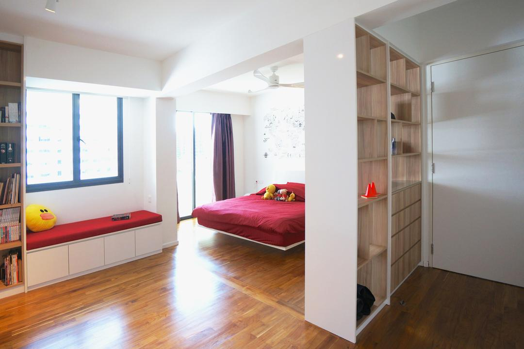 Punggol Walk (Block 310), Space Atelier, Scandinavian, Bedroom, HDB, Wood Floor, Wooden Flooring, Partition, Storage, Storage Space, Books, Bookshelf, Bookcase, Door, White Door, Cushioned Bench, Bench With Storage