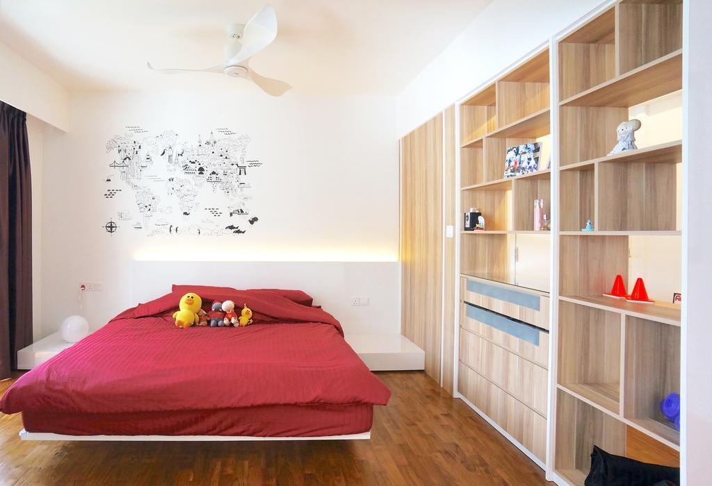Scandinavian, HDB, Bedroom, Punggol Walk (Block 310), Interior Designer, Space Atelier, Red Bedsheet, Wall Art, Wall Decor, White Ceiling Fan, Ceiling Fan, Bedside Table, Home Decor, Storage