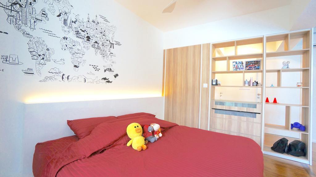 Scandinavian, HDB, Bedroom, Punggol Walk (Block 310), Interior Designer, Space Atelier, Wall Art, Wall Decor, Decal, Concealed Lighting