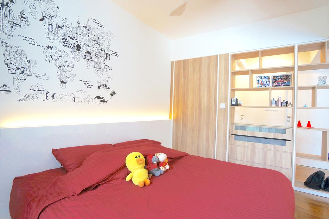 Punggol Walk (Block 310), Space Atelier, Scandinavian, Bedroom, HDB, Wall Art, Wall Decor, Decal, Concealed Lighting