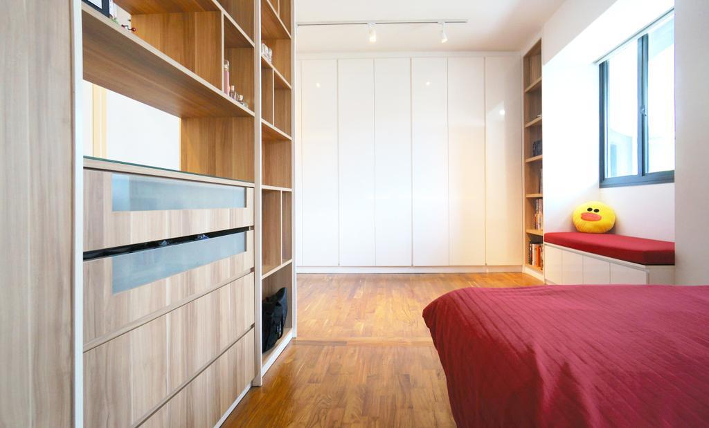 Scandinavian, HDB, Bedroom, Punggol Walk (Block 310), Interior Designer, Space Atelier, Wardrobe, White Wardrobe, Bench, Cushioned Bench