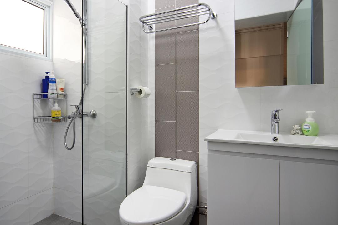 Compassvale Road (Block 258D), Boon Siew D'sign, Traditional, Bathroom, HDB, White, Mirror, Bathroom Counter, Tile, Tiles, Glass Wall, Glass Cubicle, Taupe, Toilet, Indoors, Interior Design, Room