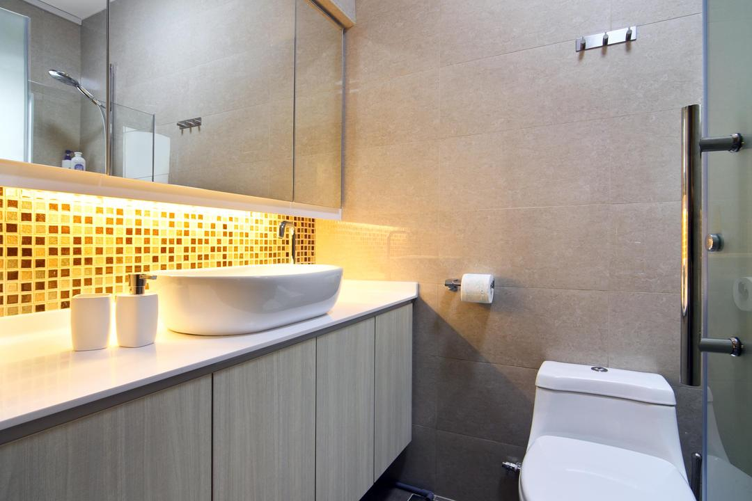 Compassvale Road (Block 258D), Boon Siew D'sign, Traditional, Bathroom, HDB, Mosaic Tiles, Mosaic, Mirror, Bathroom Counter, Wood Laminate, Wood, Laminate, Tile, Tiles, Vessel Sink, Toilet, Indoors, Interior Design, Room