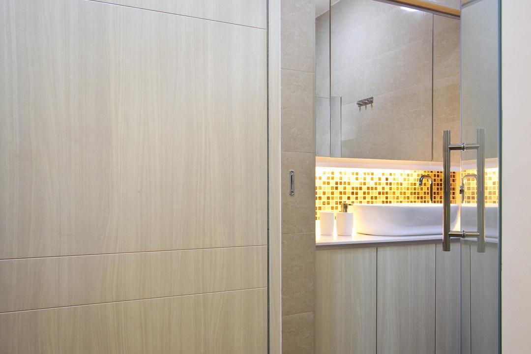 Compassvale Road (Block 258D), Boon Siew D'sign, Traditional, Bathroom, HDB, Wood Laminate, Wood, Laminate, Wardrobe, Closet, Tile, Tiles, Mirror, Vessel Sink, Bathroom Counter, Mosaic Tiles, Mosaic, Glass Doors