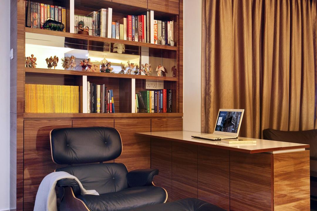 Compassvale Road (Block 258D), Boon Siew D'sign, Traditional, Study, HDB, Eames, Armchair, Bookcase, Bookshelf, Shelf, Shelves, Wood Laminate, Wood, Laminate, Cabinet, Storage, Display Shelf, Table, Extendable Table, Curtains, Mirror, Chair, Furniture