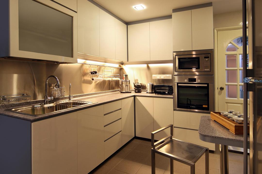 Mergui Road (Block 81), Boon Siew D'sign, Transitional, Kitchen, Condo, White, Cabinet, Metallic, Chair, Kitchen Counter, Tile, Tiles, Indoors, Interior Design, Room, Appliance, Electrical Device, Microwave, Oven
