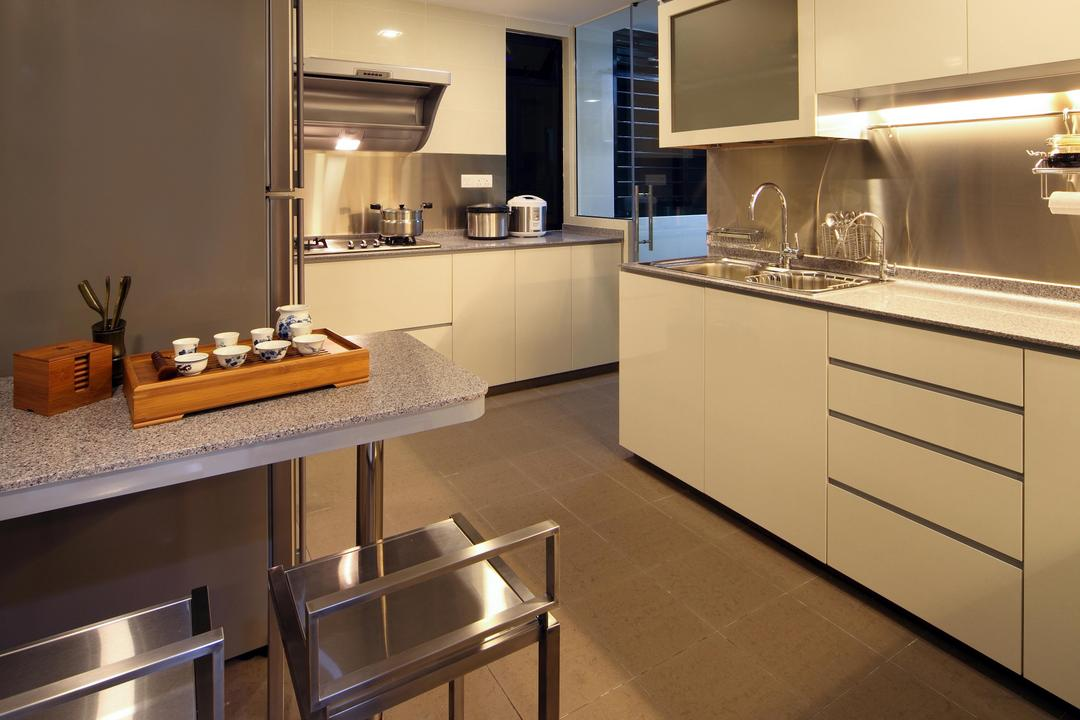 Mergui Road (Block 81), Boon Siew D'sign, Transitional, Kitchen, Condo, Chair, Metallic, Cabinet, White, Tile, Tiles, Kitchen Counter, Table, Indoors, Interior Design, Room, Appliance, Dishwasher, Electrical Device