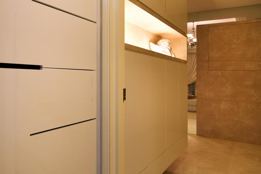 Mergui Road (Block 81), Boon Siew D'sign, Transitional, Condo, Beige, Neutral Tones, Indented Shelf, Recessed Shelf, Marble Flooring, Sculpture, Marble Wall, White, Cabinet, Storage