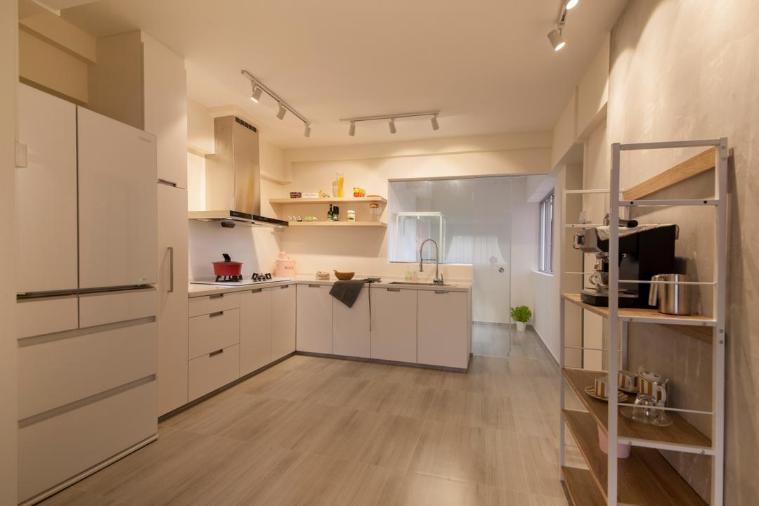 Bishan Street 24, Ascenders Design Studio, Minimalistic, Kitchen, HDB, White Kitchen Cabinet, Kitchen Cabinetry, L Shaped Kitchen, White And Wood, Sink, Flooring, Indoors, Interior Design