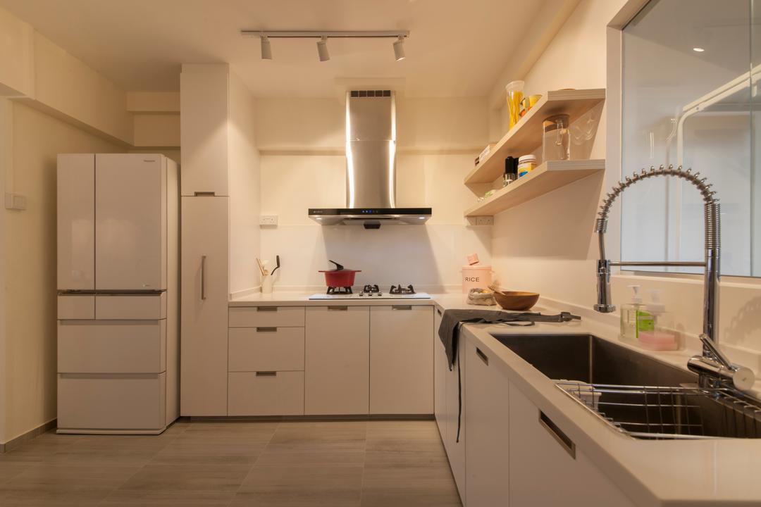 Bishan Street 24, Ascenders Design Studio, Minimalistic, Kitchen, HDB, Kitchen Sink, Wall Shelf, Exhaust Hood, White Cabinet, Sink, Indoors, Interior Design