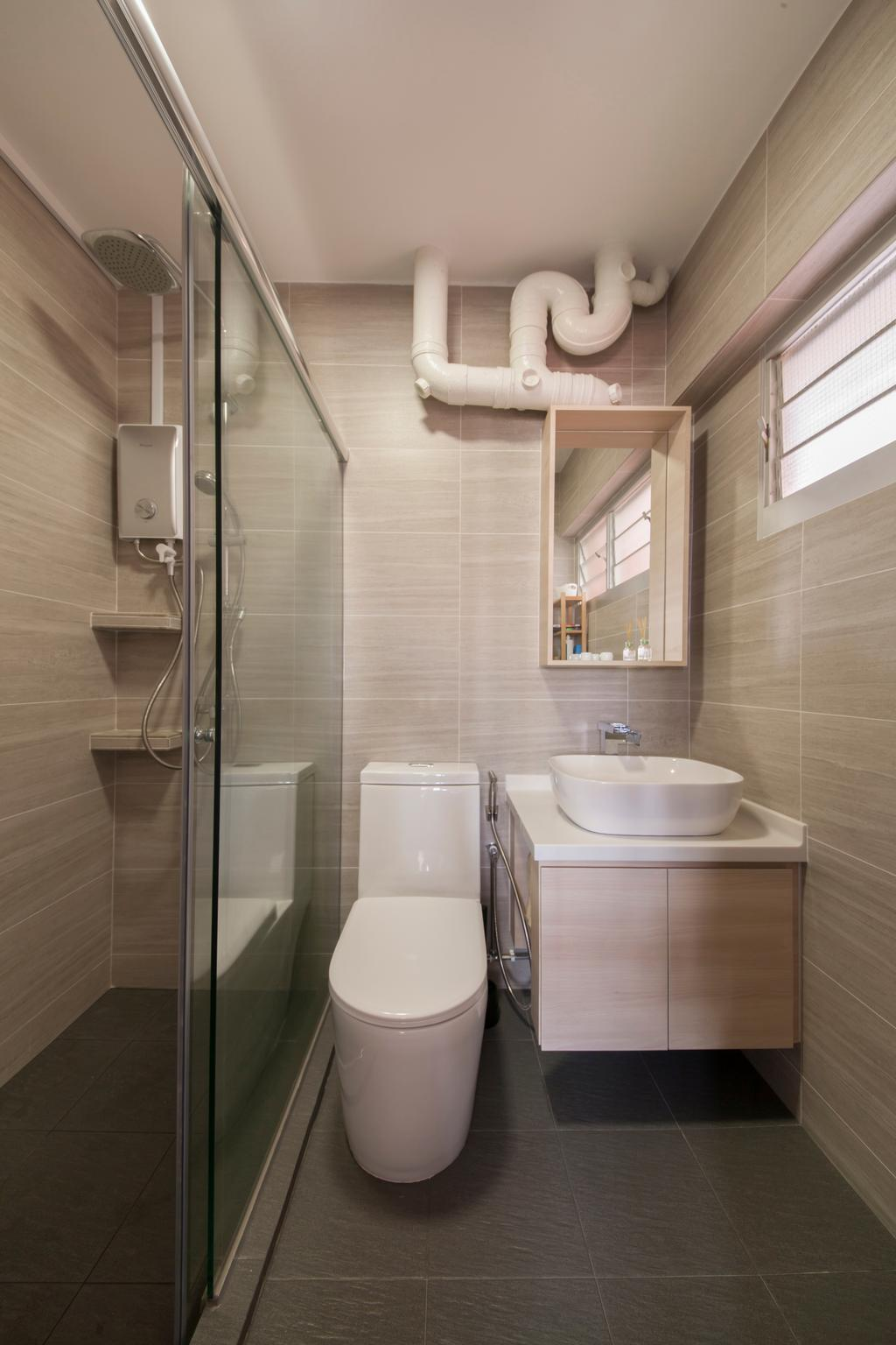 Minimalistic, HDB, Bathroom, Bishan Street 24, Interior Designer, Ascenders Design Studio, Bathroom Vanity, Vessel Sink, Toilet Bowl, Water Closet, Shower Screen, Bathroom Cabinet, Indoors, Interior Design, Room