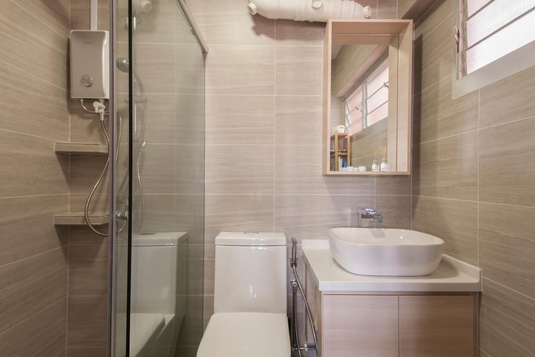 Bishan Street 24, Ascenders Design Studio, Minimalistic, Bathroom, HDB, Bathroom Vanity, Vessel Sink, Toilet Bowl, Water Closet, Shower Screen, Bathroom Cabinet, Indoors, Interior Design, Room